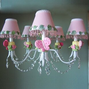 Silly Bear Lighting Pink Flutter Butterfly 5-Light Shaded Chandelier