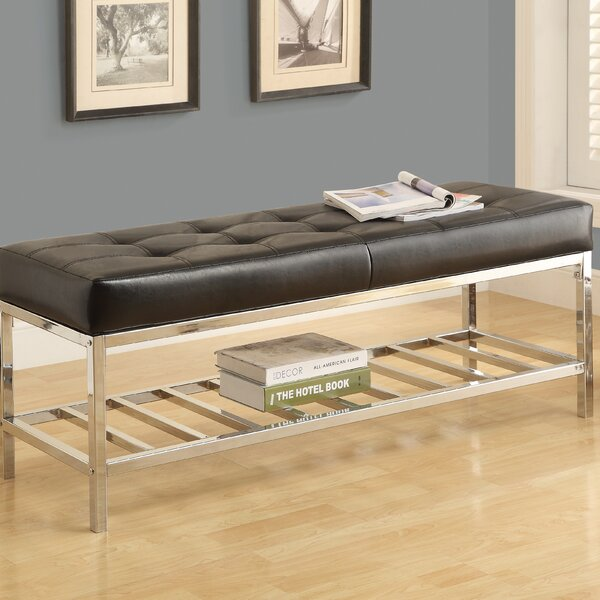 Wrought Studio Alphabet City Leather & Metal Bench & Reviews by Wrought Studio