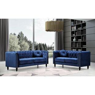 Bonito Velet Livingroom 2Pc by House of Hampton