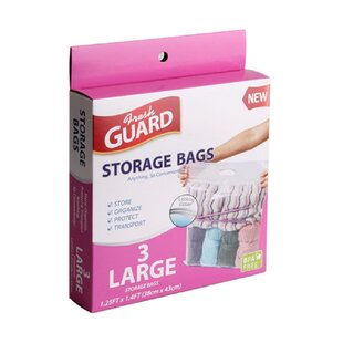 BPA Free Large Plastic Strong Storage Bags with Zipper and Handle (Set of 3) By Symple Stuff