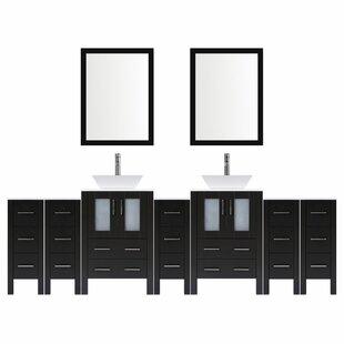 Modern 132 Double Bathroom Vanity Set with Mirror by LessCare