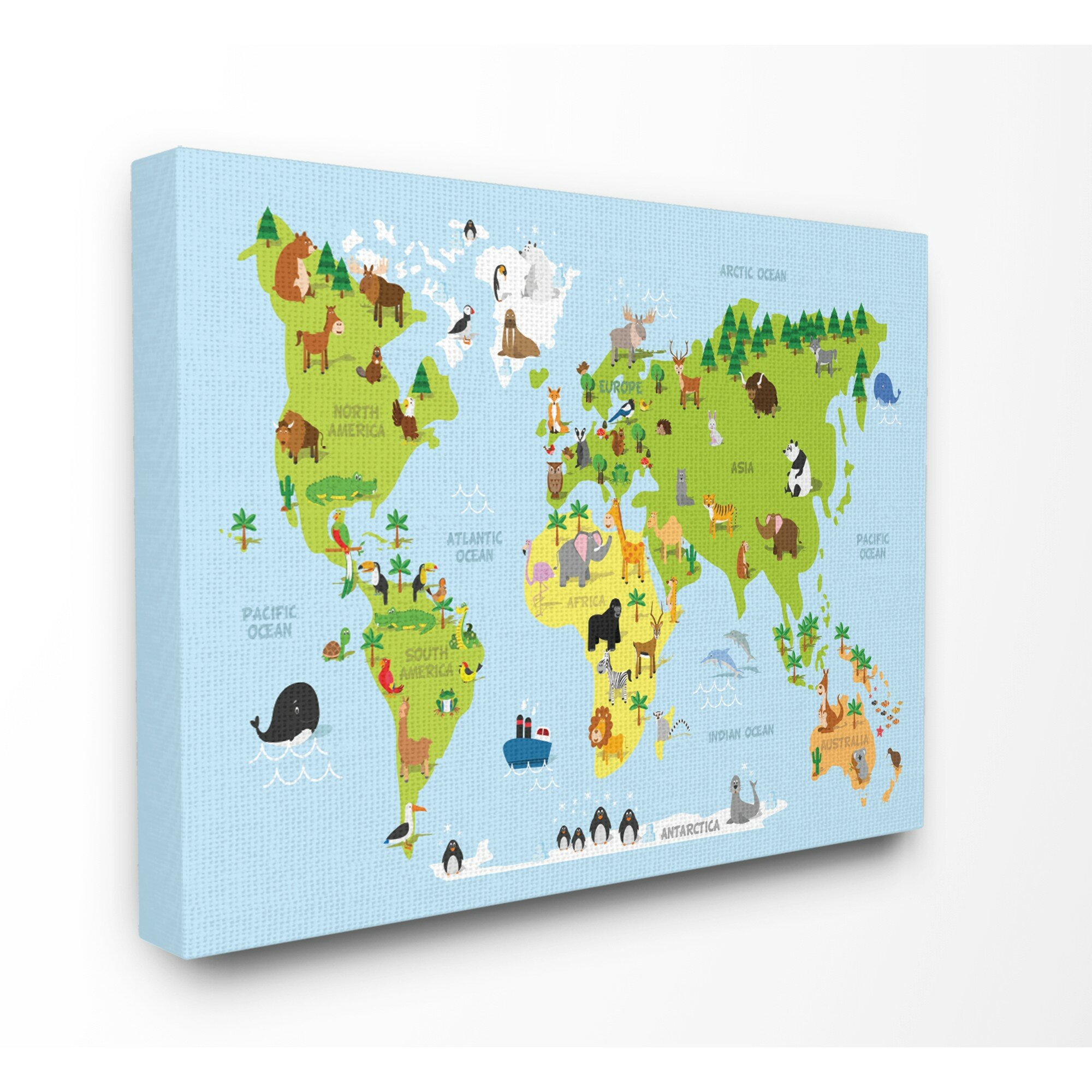 Harriet bee feemster world map cartoon and colorful canvas art wayfair gumiabroncs Gallery