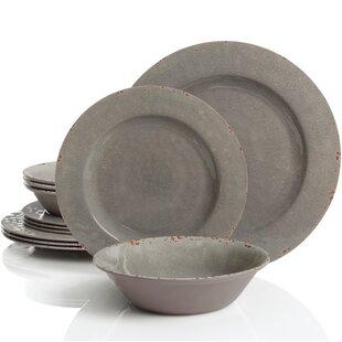 Cogswell Melamine Mauna Crackle 12 Piece Dinnerware Set Service for 4  sc 1 st  Joss u0026 Main & Grey Dinnerware Sets u0026 Place Settings | Joss u0026 Main