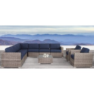Longshore Tides Lue 10 Piece Sunbrella Sectional Set with Cushions