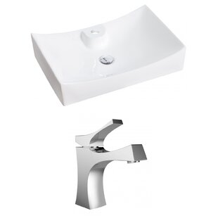 Shopping for Above Counter Ceramic Rectangular Vessel Bathroom Sink with Faucet ByRoyal Purple Bath Kitchen