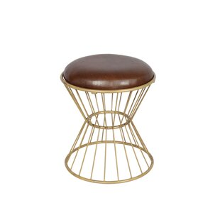 Faux Leather Wire Frame Accent Stool by Fashion N You by Horizon Interseas