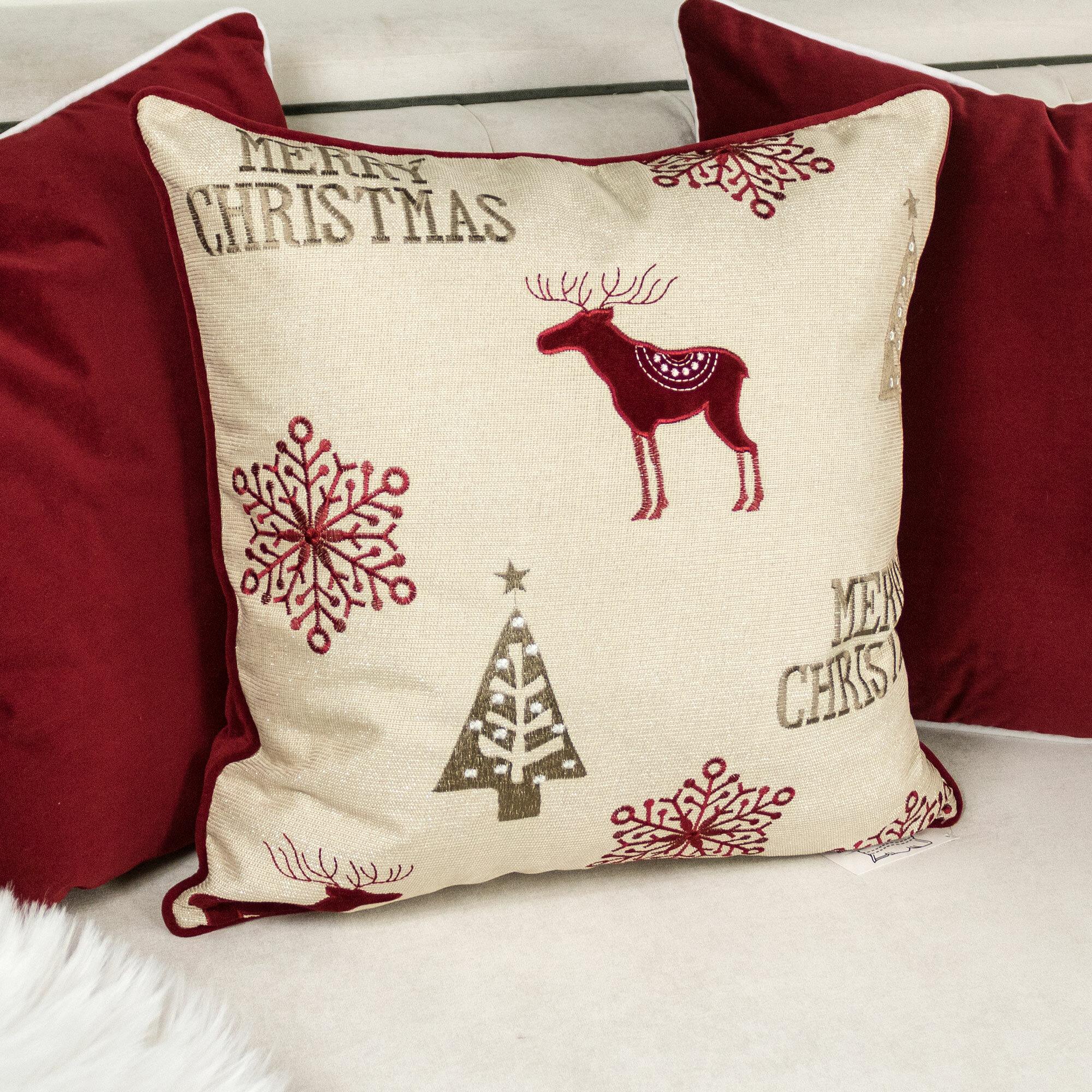 Loon Peak Shellenbarger Merry Christmas Poly Linen Embroidered Velvet Throw Pillow Wayfair