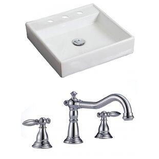 American Imaginations Ceramic Square Vessel Bathroom Sink with Faucet