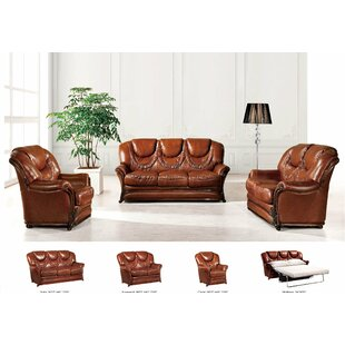 Noci Design 3 Sleeper Piece Leather Living Room Set