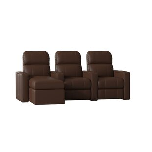 Red Barrel Studio Modern Upholstered Leather Home Theater Sofa (Row of 3)