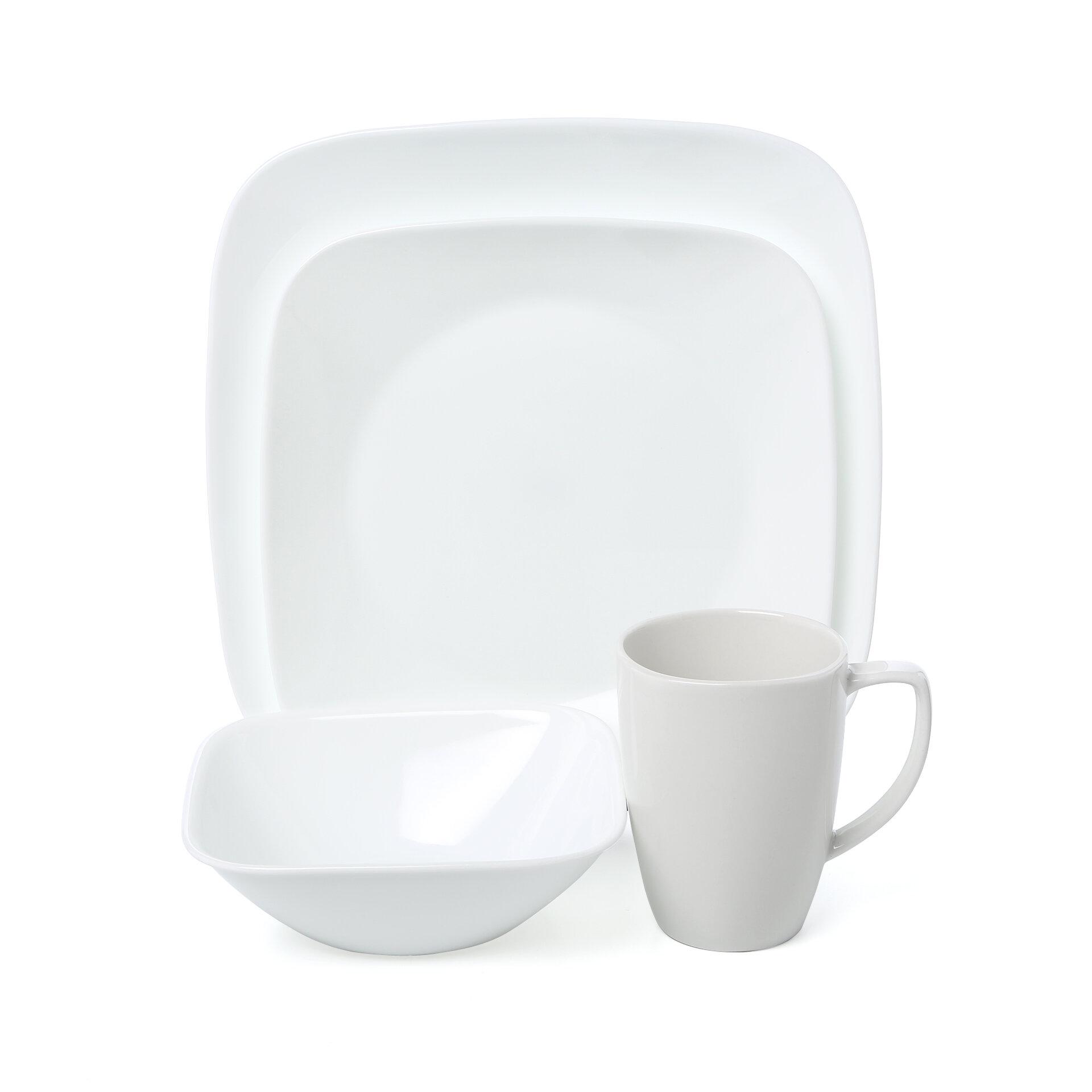 Corelle 16 Piece Dinnerware Set Vitrelle Glass Service of 4 Square White Plates
