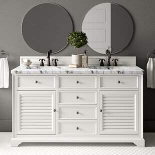 Osmond 60 Double Ceramic Sink Cottage White Bathroom Vanity Set by Greyleigh