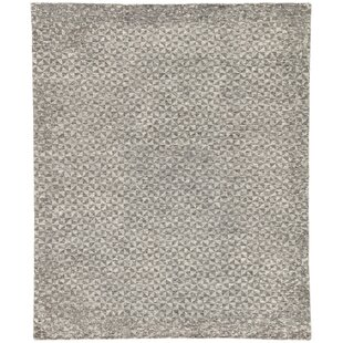 Compare prices Haldeman Hand-Knotted Wool Raven/Bone White Area Rug By Ivy Bronx