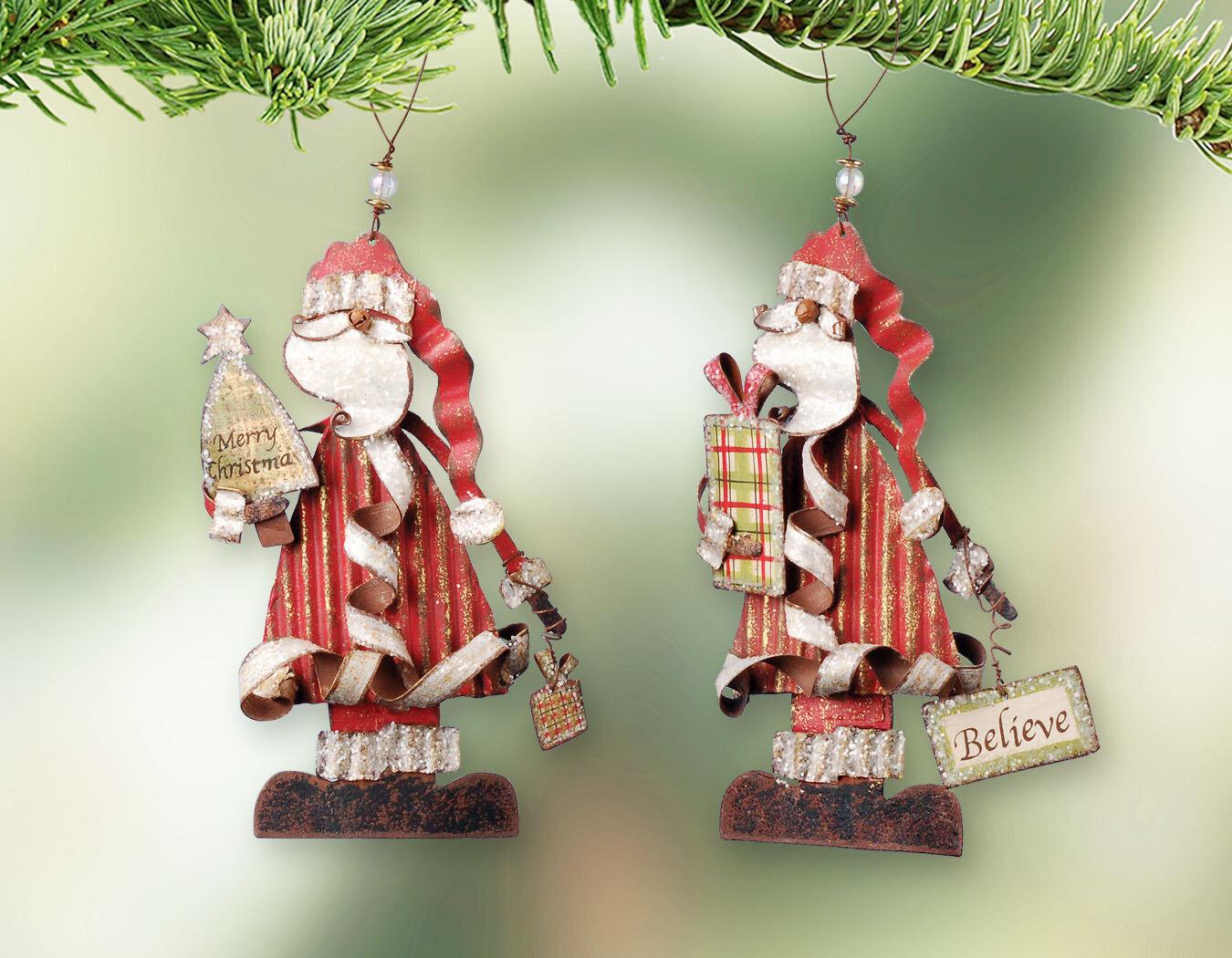 The Holiday Aisle 2 Piece Christmas Standing Santa Hanging Figurine Ornament Set Wayfair