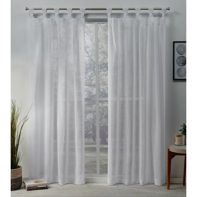 Highland Dunes Mirfield Braided Solid Color Sheer Tab Top Curtain Panels