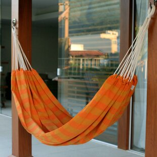 Single Person Fair Trade Striped Ceara Sunshine Hand-Woven Brazilian Cotton Indoor And Outdoor Hammock