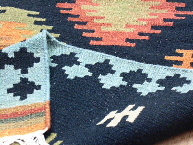 Alpen Home Handmade Kilim Wool And Cotton Dark Blue Rug Wayfair Co Uk