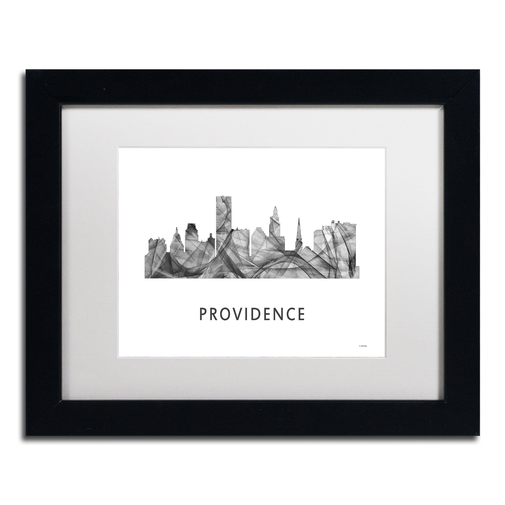 Trademark Art Providence Ri Skyline Wb Bw By Marlene Watson Framed Graphic Art Wayfair