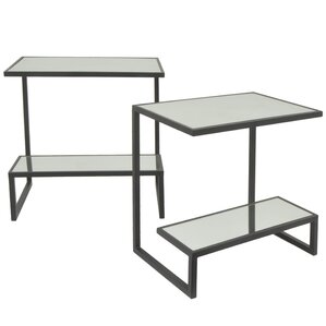 Rectangular 2 Tier Metal Mirror Top 2 Piece Nesting Tables by Three Hands Co.