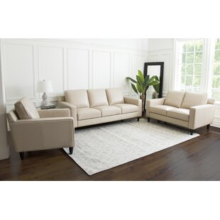 Darby Home Co Oaklynn 3 Piece Leather Liv..
