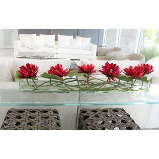 Casa 48'' Glass Plate Leaves Flower And Water Lilies Floral Arrangement In Planter by Bloomsbury Market Cheap