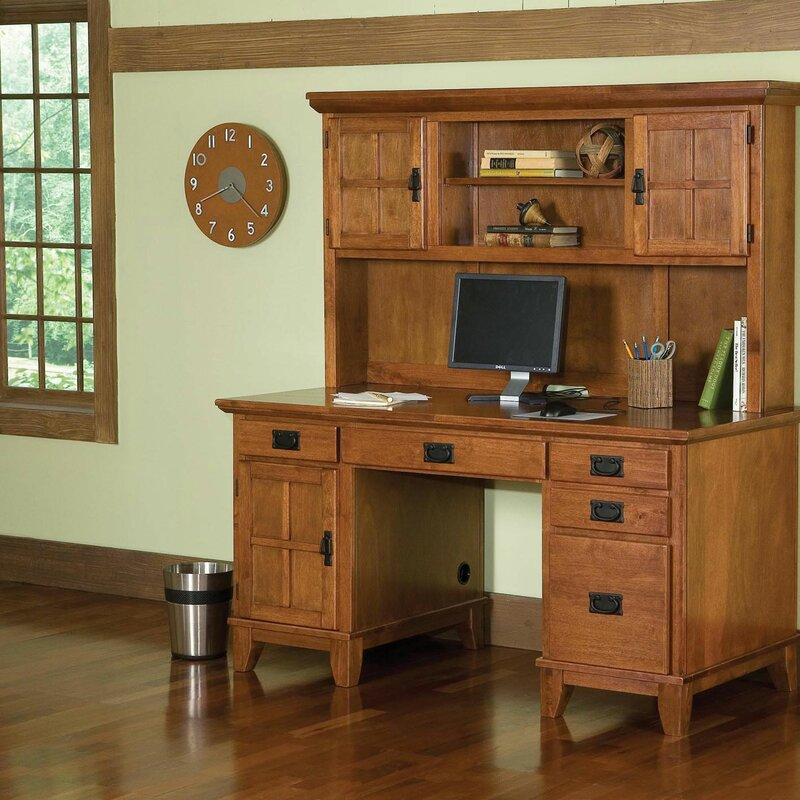 Ferryhill Pedestal Computer Desk With Hutch