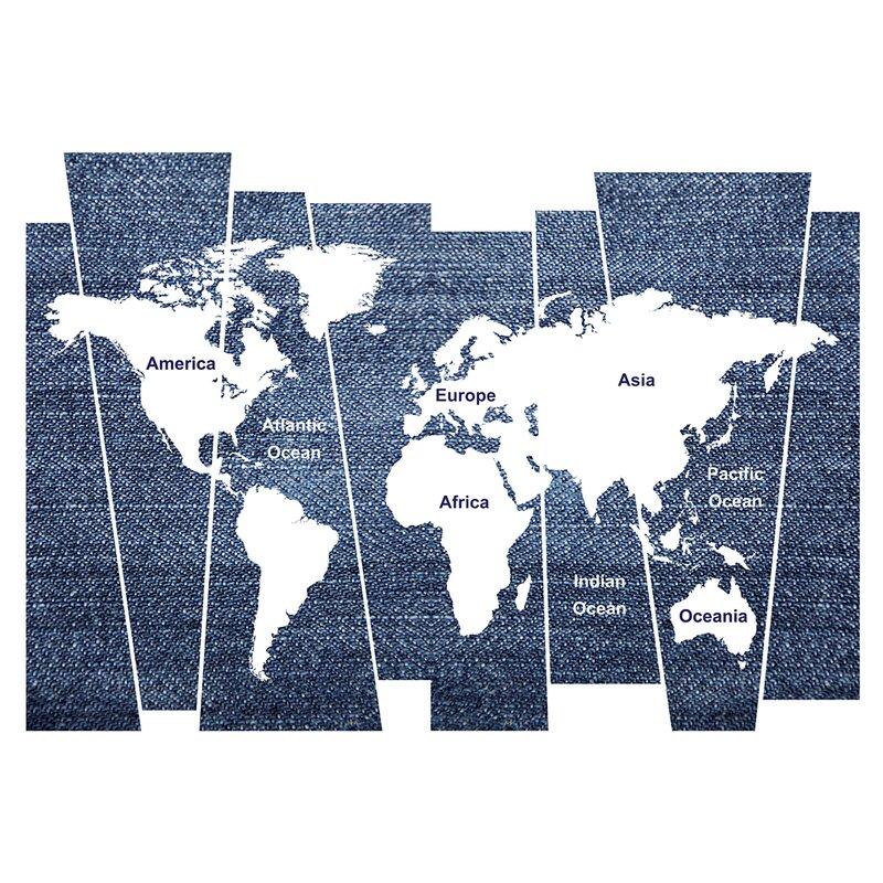 WallPops! Denim World Map Wall Decal | Wayfair