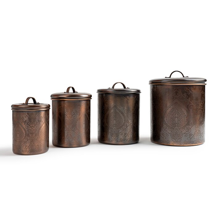 Nusteel Etched Antique Copper 1 Qt Stainless Steel Canister, Beautiful Food  Storage Container For Kitchen Counter, Tea, Sugar, Coffee, Caddy, Flour ...