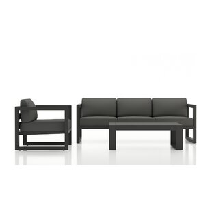 Remi 3 Piece Sofa Seating Group with Sunbrella Cushions