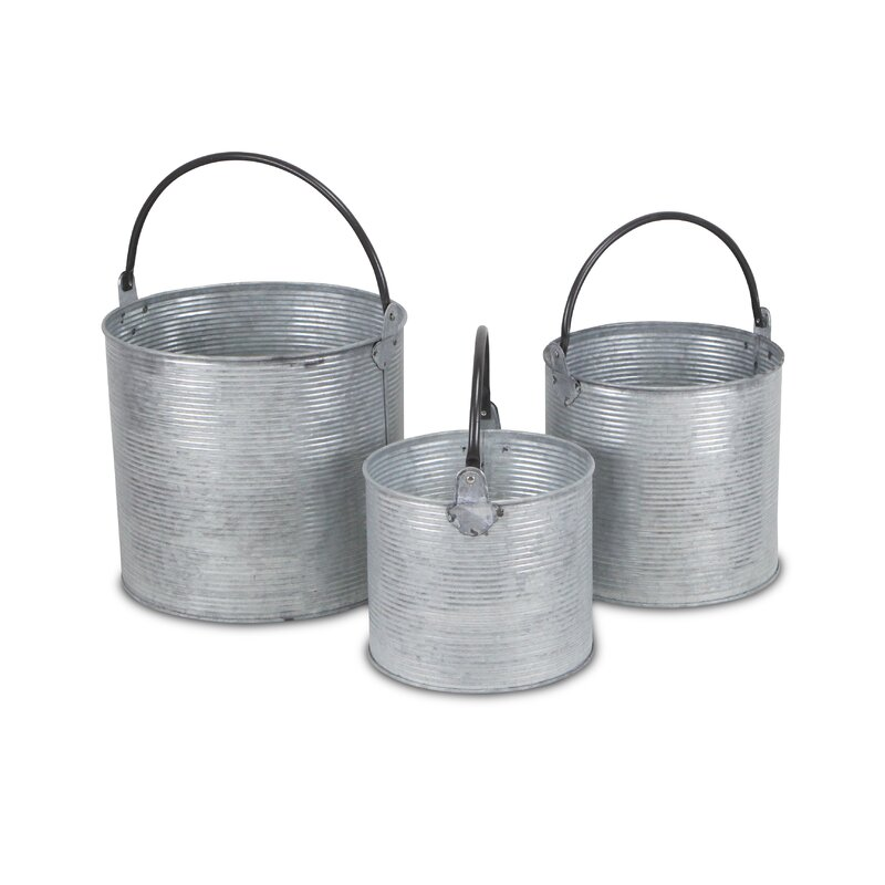 Cheungs 3 Piece Metal Bucket Set Reviews Wayfair