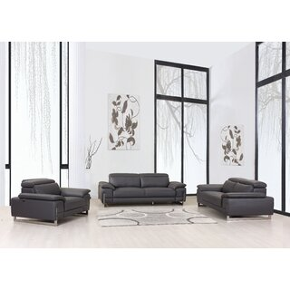Allon 3 Piece Leather Living Room Set by Orren Ellis SKU:ED885170 Order
