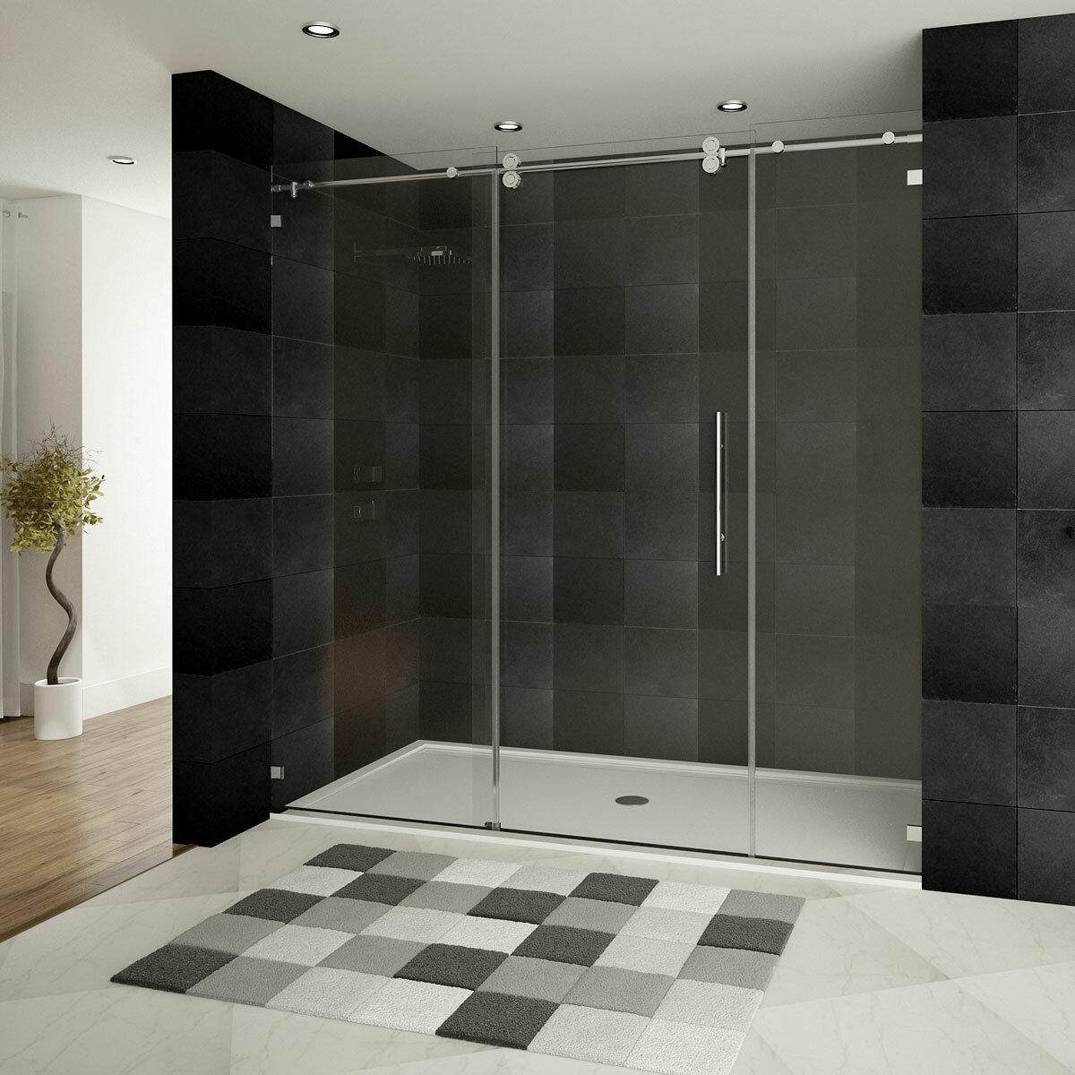 Ultra D 72 X 79 Single Sliding Frameless Shower Door With Double Front Panel