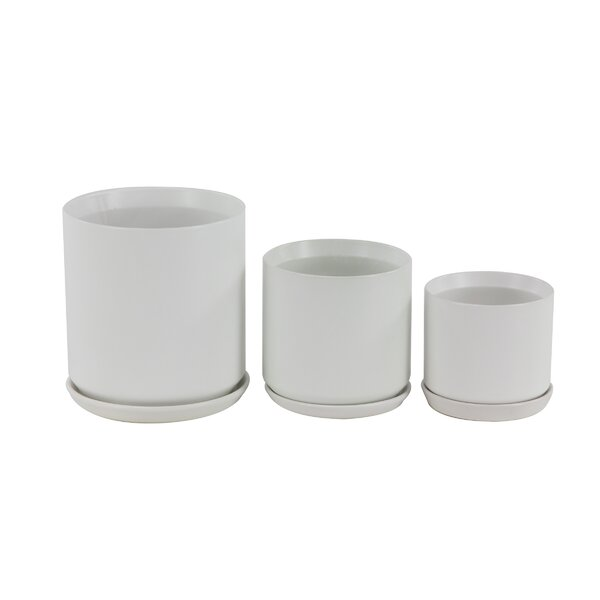 George Oliver Pagel Modern 3 Piece Ceramic Pot Planter Set & Reviews by George Oliver