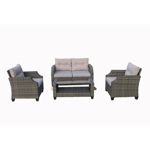 Colyt 4 Piece Rattan Sofa Seating Group with Cushions