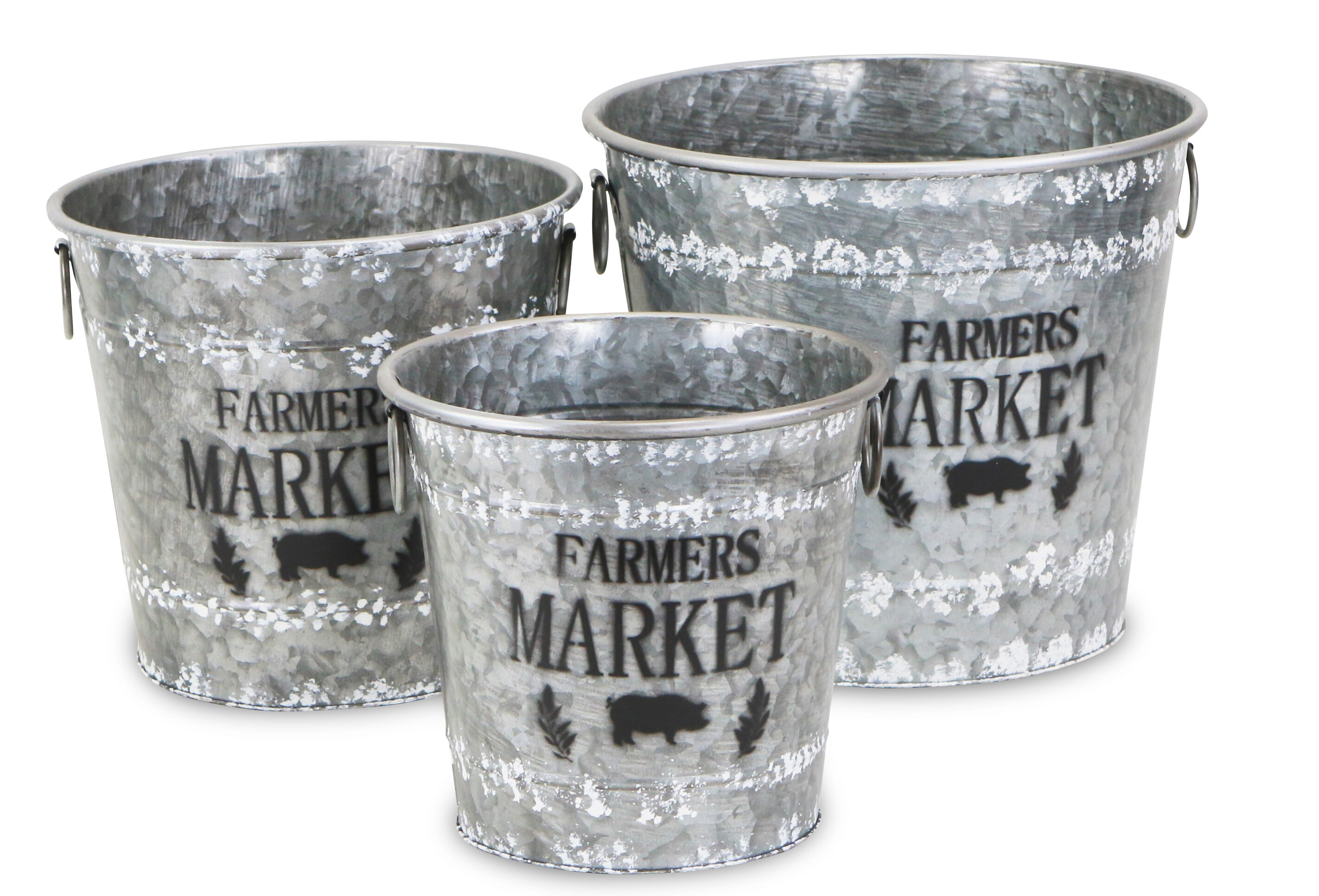 Gracie Oaks Farmers Market 3 Piece Metal Bucket Set Wayfair