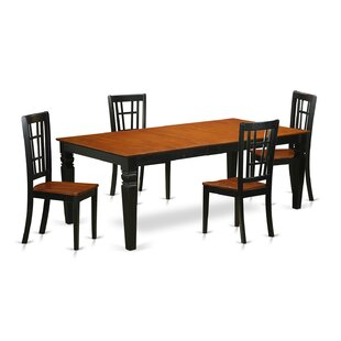 Darby Home Co Beesley 5 Piece Black/Cherry HardWood Dining Set