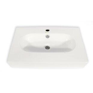 Hispania Home Ice Cream Ceramic Rectangular Vessel Bathroom Sink with Overflow