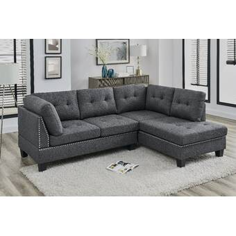 Latitude Run Azzay 98 Chenille Right Hand Facing Sofa And Chaise With Ottoman Wayfair