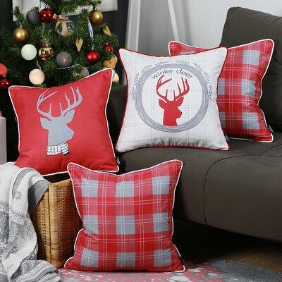 Merry Christmas 4 Piece Throw Pillow