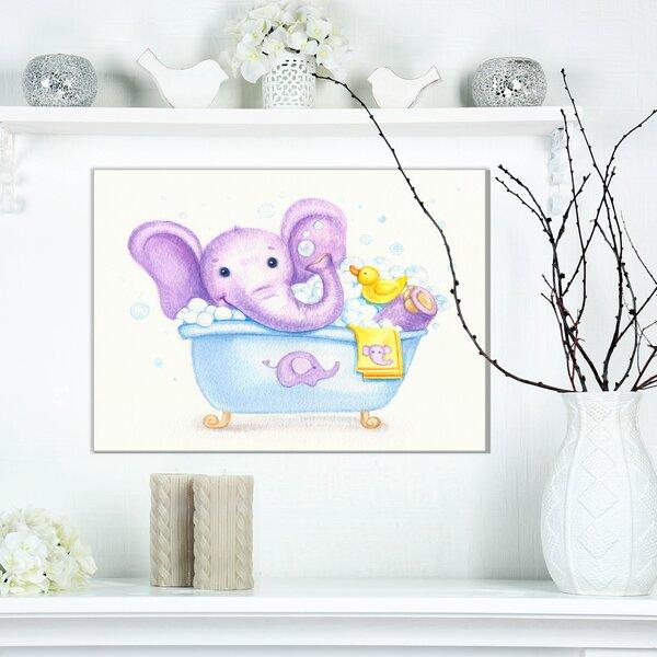 'Bathing Baby Elephant Bathroom' Print on Wrapped Canvas
