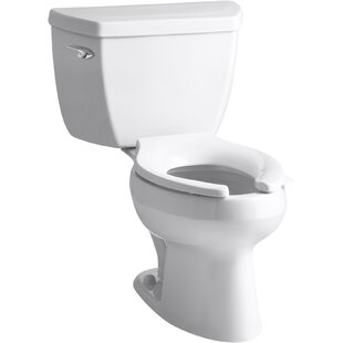 Kohler Wellworth® Classic Two-Piece Elongated 1.6 GPF Toilet with Pressure Lite® Flushing Technology, Left-Hand Trip Lever and Antimicrobial Finish, Less Seat