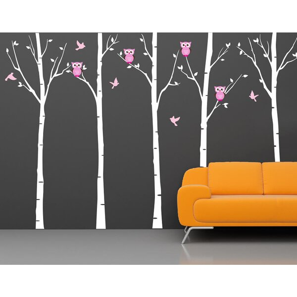 Pop Decors Five Birch Trees With Owls Wall Decal U0026 Reviews | Wayfair