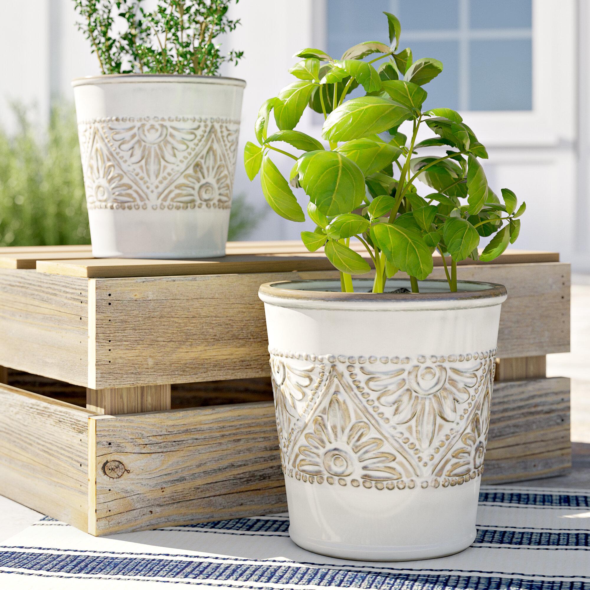 Woodcreek Floral Pattern 2 Piece Ceramic Pot Planter Reviews Birch Lane