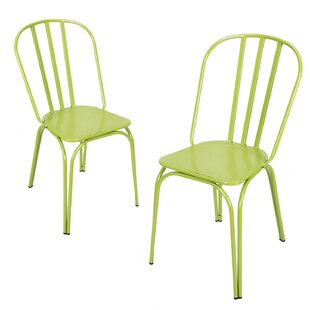 August Grove Custinne Stackable Hollow Back Dining Chair (Set of 2)