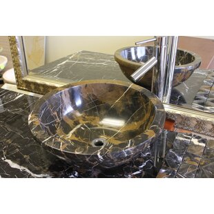 Marble Circular Vessel Bathroom Sink by Marble Products International