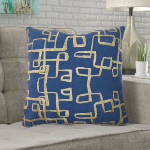 Oakledge Navy Geometry Gold Throw Pillow