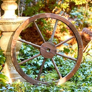 Wooden Ship Wheel Ornamental Reproduction Decoration 68 cm wide Garden Home