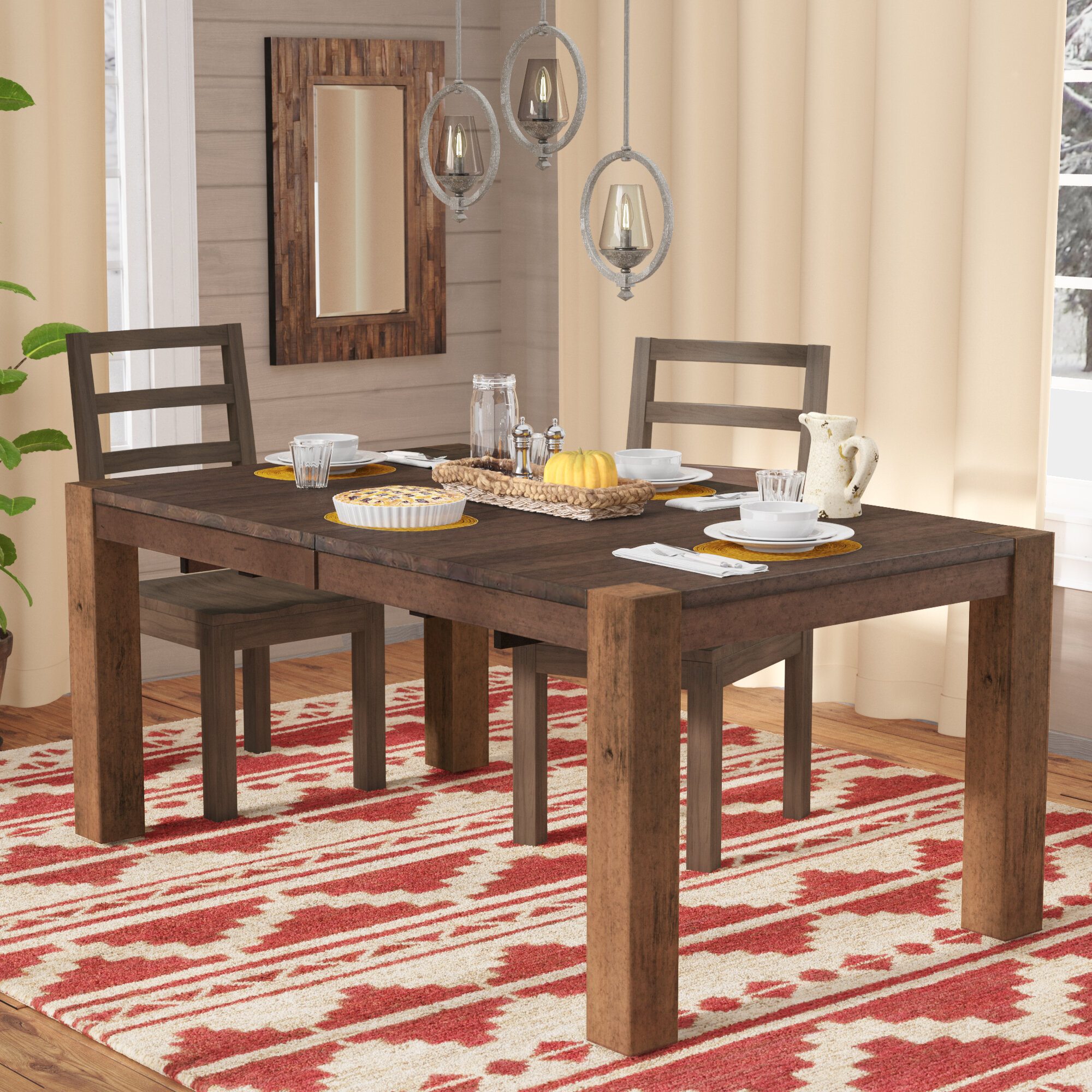 Mistana Trevion Leg Extendable Dining Table Reviews Wayfair