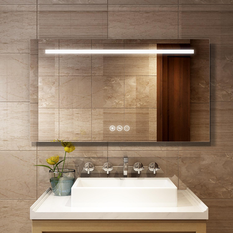 Orren Ellis Hartmut Glam Frameless Lighted Bathroom Vanity Mirror Reviews Wayfair