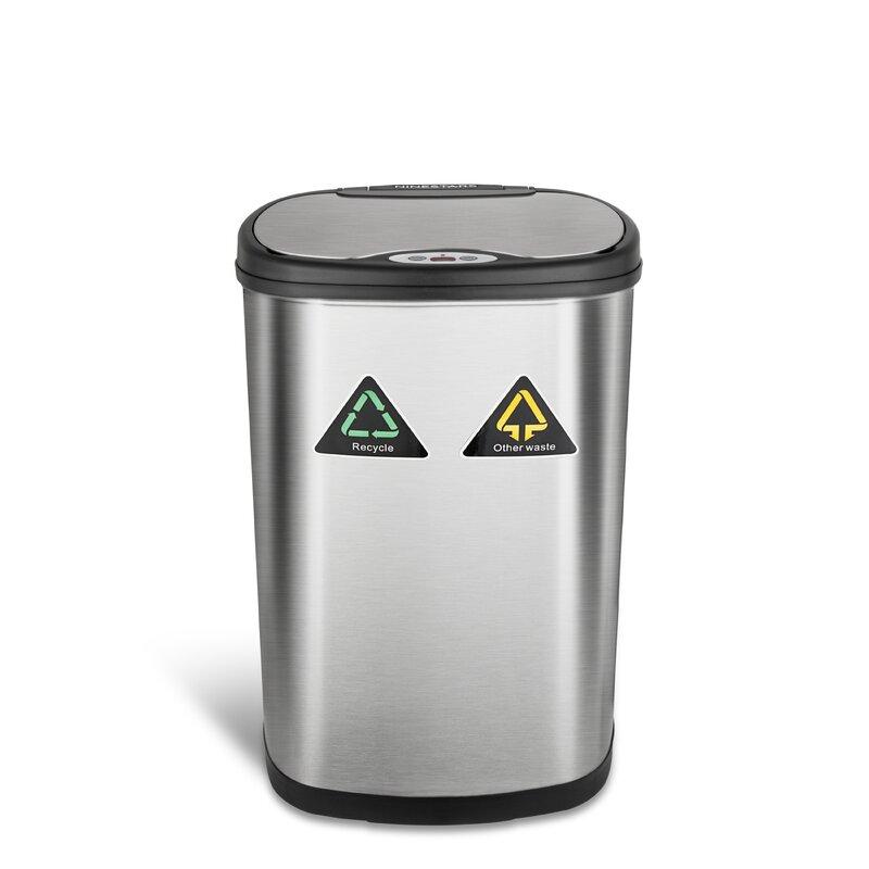 Nine Stars 13 2 Gallon Motion Sensor Multi Compartments Trash Recycling Bin